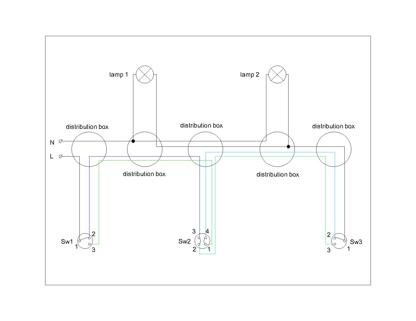 Building Of Electrical Installation For Light 2 Elplan Two Way Switching Circuit Accordingly The Single Line Diagram A Cross And Switches Is